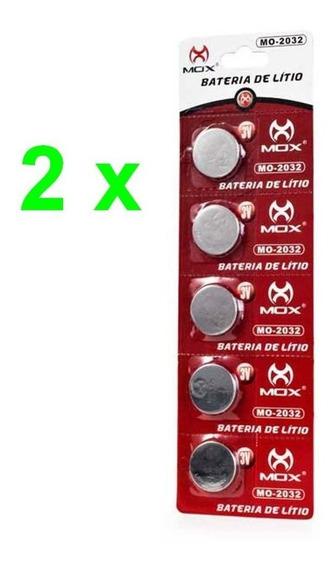 02 Cartelas Total 10 Baterias Litio Mox Cr 2032 3v