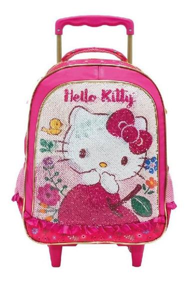 Mochila Com Rodinhas Hello Kitty Magic Touch Lantejoula