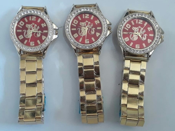 Kit C/05 Relógio Feminino Barato Dourado Atacado Oferta
