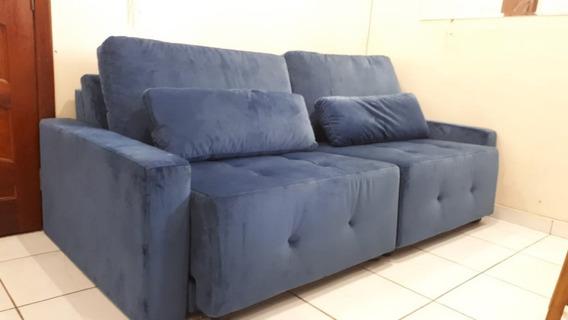 Sofá Sugoy 4 Lugares - Super Vicenza Plus (azul) - Retrátil