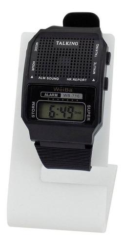 Relógio Masculino Fala Hora Deficiente Visual Idoso Cego
