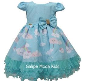 Vestido Chuva De Amor De Benção Azul Tiffany 1 Ao 3