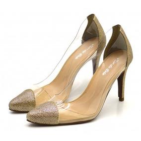 a3bae182e6 Scarpin Transparente Dourado - Sapatos no Mercado Livre Brasil