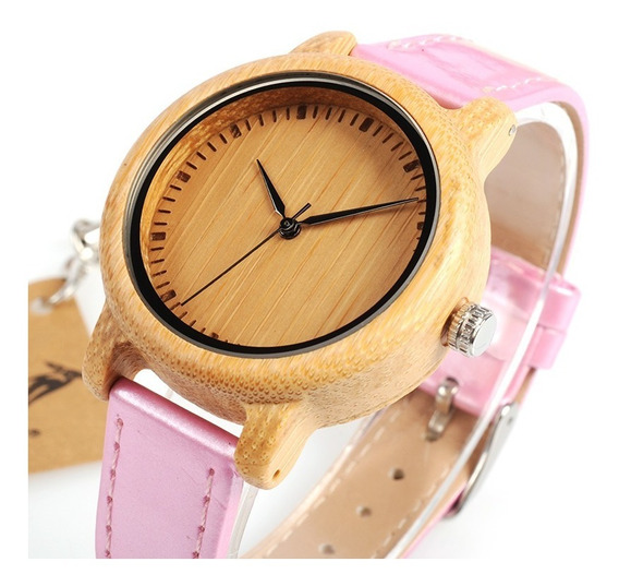 Relógio Feminino Bambu Madeira Analógico Bobo Bird J08 Pink