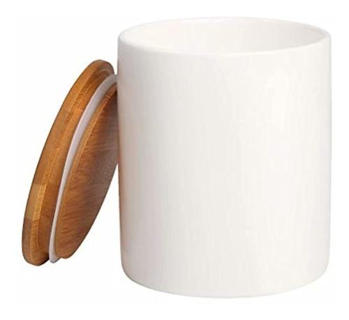 Tarro De Bambú Para Guardar Color Blanco Marca Pyle
