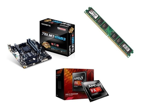 Kit Pc Gamer Amd Fx-8320e + Ga-78lmt Usb3 + 8gb Ddr3 + 1 Hd