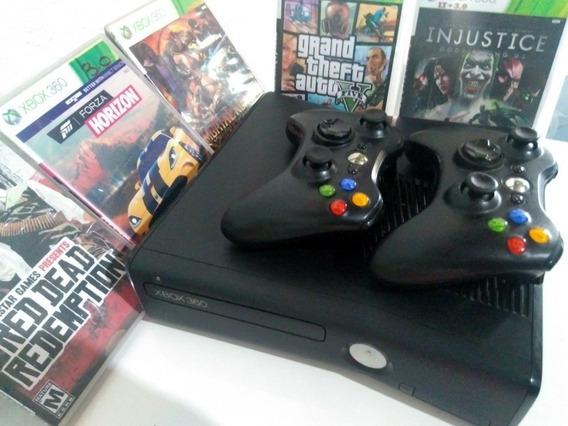 Xbox 360 Destravado Ltu 3.0 2 Controles 15 Jogos