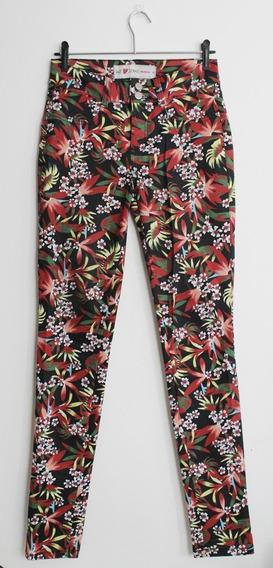 Calça Feminina Sarja Estampada Floral Tropical Tam 36
