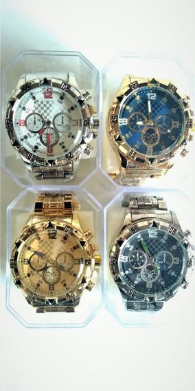 Kit C/ 4 Relógios Masculinos Aço P/ Revenda Varias Cores