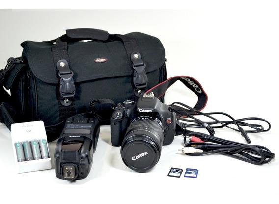 Kit Câmera Canon T3i Com Lentes, Flash, Bolsa, Cabos, Etc.
