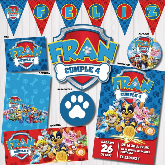 Kit Imprimible Patrulla Paw Patrol Mighty Pups Ultima Peli!