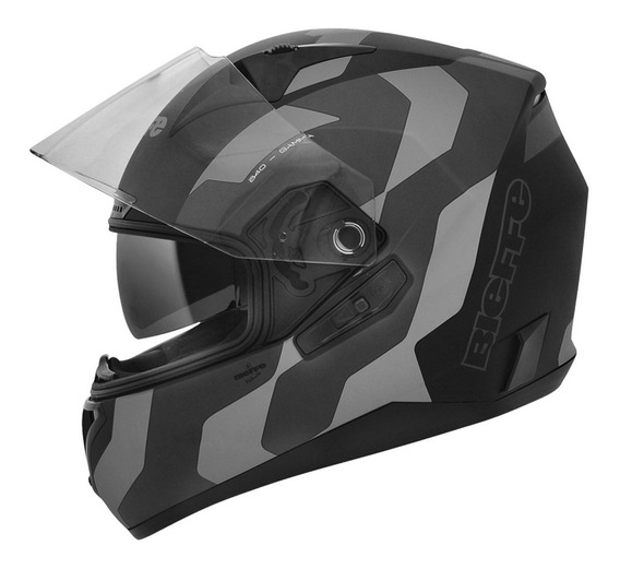 Capacete Moto Bieffe B40 Gamma Preto Fosco Cinza