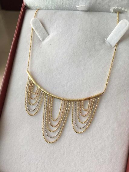 Hermoso Collar Cadena Gargantilla Oro 14 K
