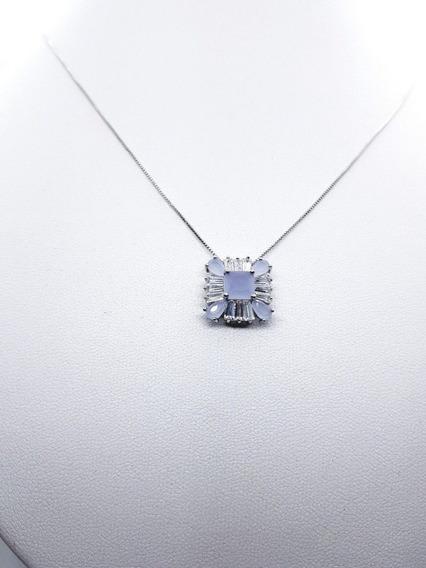 Conj Feminino No Ródio Branco 3 (colar + Brinco) Semijoias