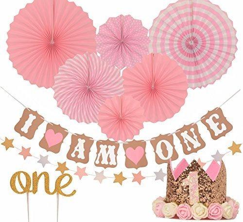 Imagen 1 de 7 de Juego De Decoracion De Primer Cumpleaños Para Niña 1st Birth
