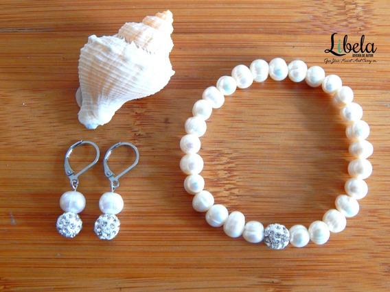 Set Perlas De Río Naturales A.inox Collar, Aretes Y Pulsera