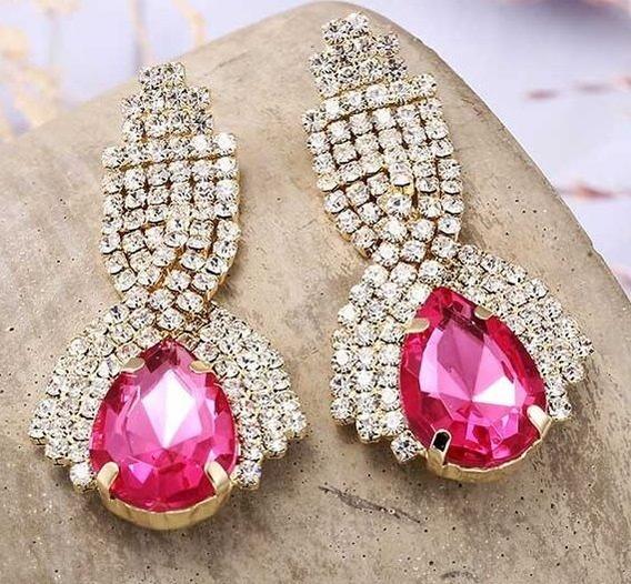 Brinco Strass Festa Luxo Rosa Pink Madrinha Mae Fashion 5 Cm
