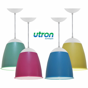 Kit Utron 4 Lustres Quarto Bebê Luminária Pendente Taça 20cm