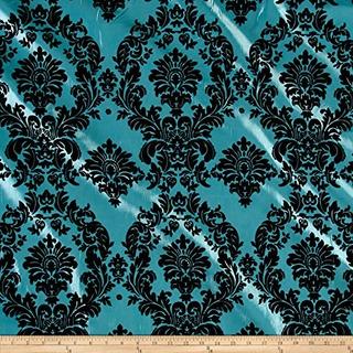 Textiles Ben Se Reunieron Damasco Taffetta Aqua Blueblack