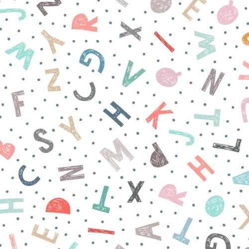 Imagem 1 de 1 de Papel De Parede Infantil Escolinha Alfabeto Lavável N3934
