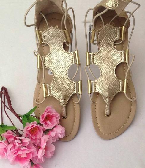 Rasteira Dourada Silvia Fashion 34