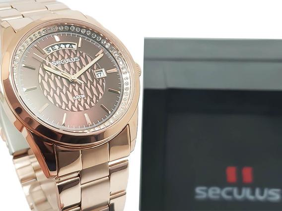 Relógio Analógico Feminino Seculus 35002lpsvrs1 Original
