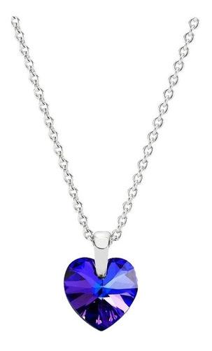 Regalo Para Mujer Collar Corazón Swarovski Cristal Morado