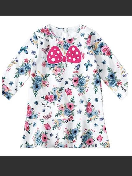 Vestido Floral Com Recorte-off White & Rosa-lilica Ripilica