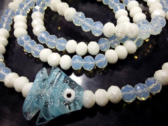 Guia Colar G Murano Branco Azul Iemanjá Rainha Mar Peixe