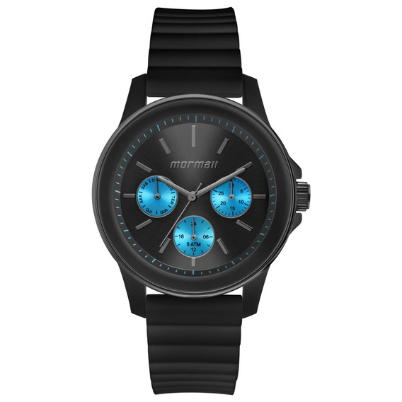 Relógio Feminino Mormaii Luau Mo6p29am/8a Silicone Preto