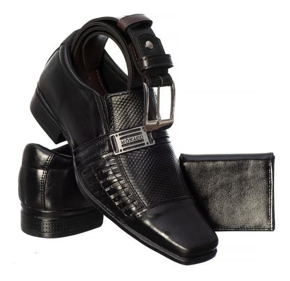 Sapato Masculino Em Couro Legítimo + Brinde Carteira E Cinto