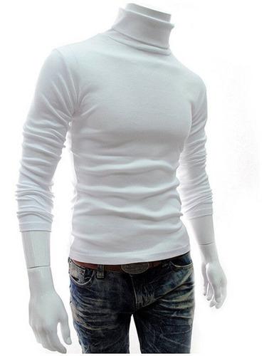 Camibuso Cuello Tortuga Blanco Fashion Hombre Slim Polo //