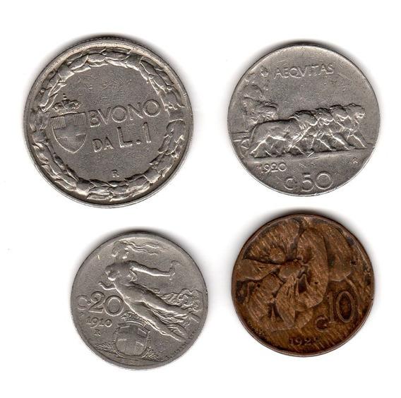 Bkz / Italia - 4 Monedas 1910-1924 1 Lire + 10/20/50 Cent