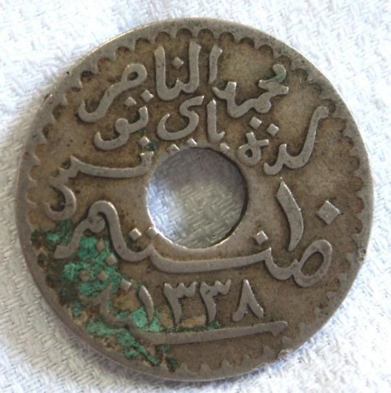 Antigua Moneda Tunez Tunisia 1920 10 Centimos Protec Frances