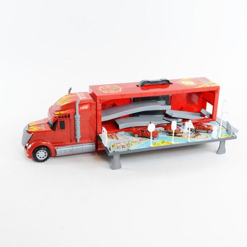 Camion Transportador Rescate Autos Helicoptero Luces Sonidos