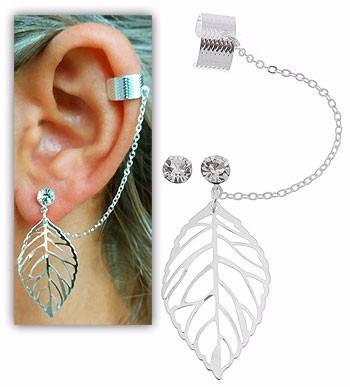 Brinco Ear Cuff Folheado A Prata C/ Adereço Em Forma De Folh