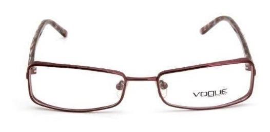 Oculos De Grau Feminino Vogue Metal Quadrado Vinho