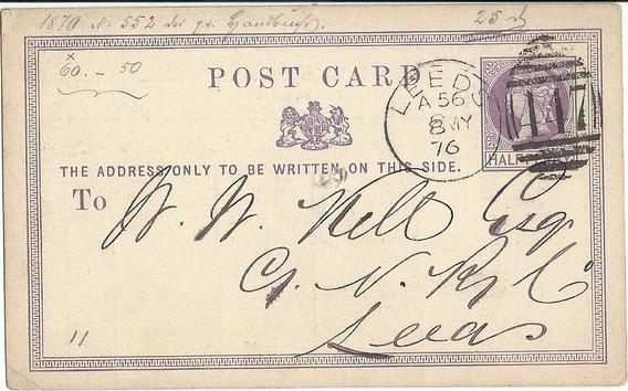 Gran Bretaña Tarjeta Postal 1876 Muy Buenos Matasellos
