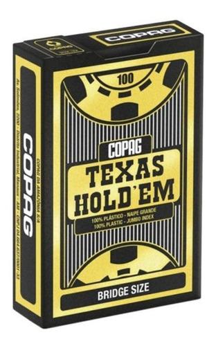 Baralho Poker Texas Holdem Plástico Preto Bridge Size Copag