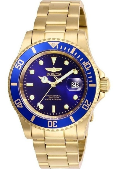 Relógio Invicta Pro Diver Dourado Masculino Fundo Azul Original Aprova D