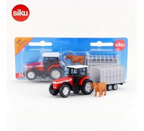 Tractor Massey Ferguson Con Trailer P/ Ganado- Siku Super 16