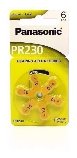 Bateria Auditiva Zinc Air Panasonic Pr230 10 Cartela C/6 Un.