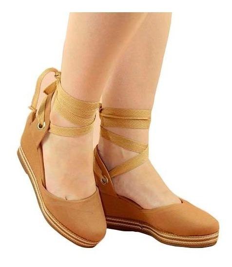 Sandalia Salto Alto Anabela Feminina Amarrar Na Perna Barato