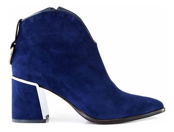 Bota Cuero Gamuza Mujer Briganti Zapato Taco - Mcbo24944 07