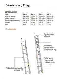 Escalera De Aluminio Y De Fibra Telescopica X 16 Pasos