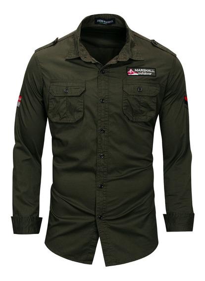 Camisa Caballero Manga Larga Verde Militar