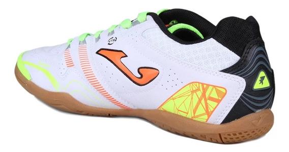 Chuteira Futsal Joma Máxima Branco Com Verde Limão