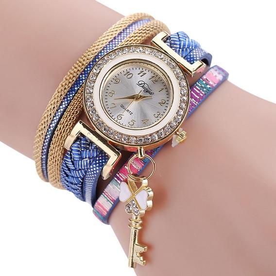 2 Relógio Feminino Pingente Chave