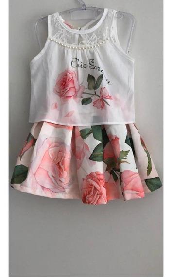 Conjunto Saia Infantil Rosas Bambollina