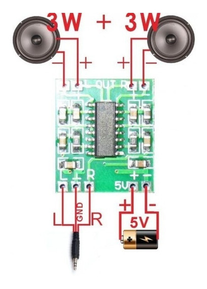 3pcs Módulo Amplificador Som Estéreo 2ch 3w+3w Pam8403